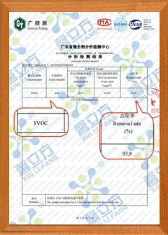 负氧离子触媒TVOC去除率